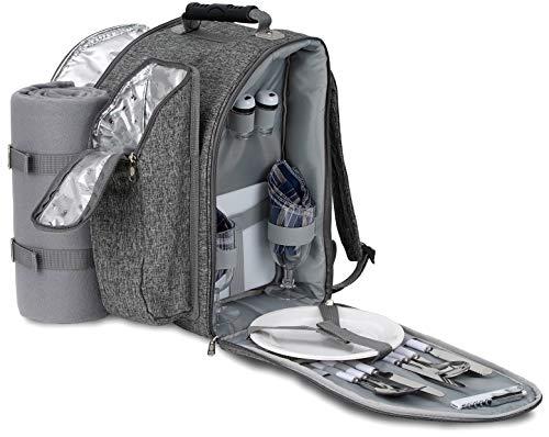 Brubaker Picknickrucksack für 2 Personen Grau 28 × 40 × 22 cm - mit Kühlfach, Iso-Flaschenhalter und Fleece-Decke mit wasserdichter Unterseite