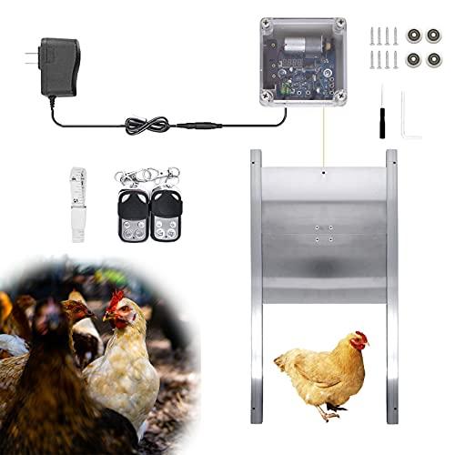 EUNEWR kit abrepuertas gallinero,puerta automática para gallinero con Temporizador y sensor de luz,puerta de gallinero automática 2 controles remotos,tipo eslinga con 4 ruedas de polea para ja