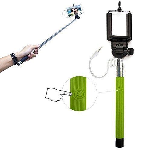 Xtra-Funky Esclusivo pulsante universale gestito bastone Selfie monopiede con morsetto regolabile e palo estensibile per Samsung, iPhone, Sony - Verde