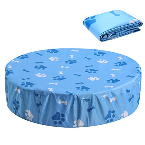 SCENEREAL Round Pool Cover - Fit 32' Foldable Dog Swimming Pool, Washable Waterpoof and UV Protection Pool Cover with Cute Pattern
