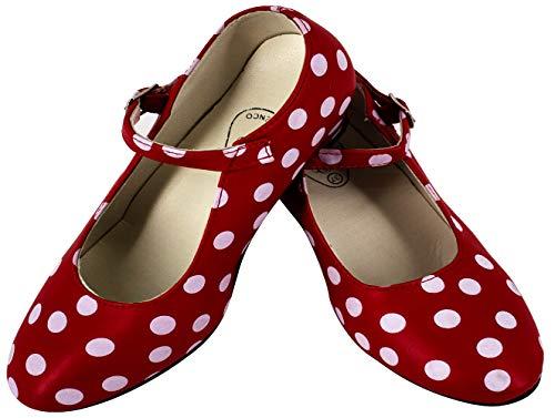 Gojoy shop- Zapato con Tacón de Danza Baile Flamenco o Sevillanas para Niña y Mujer, 5 Colores Disponibles (Lunares Blanco, 38)