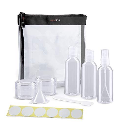nex|trip Kulturbeutel Transparent + Behälter für Flüssigkeiten Handgepäck - Kosmetiktasche durchsichtig für Flugzeug - Reiseset Kosmetik Beutel - Stickerset