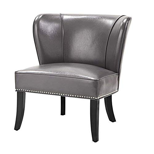 Madison Park FPF18-0106 Hilton Accent Chairs - Hardwood, Plywood, Wing Back, Deep Seat-Bedroom Lounge Modern Classic Style Living Room Sofa Furniture, Grey