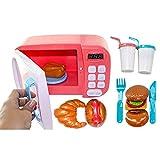 ZUJI 10er Set Mikrowelle Spielzeug Küchenspielzeug Kinder Mikrowelle mit Licht Küchen Spielzeug für Kinderküche Rollenspiel (Rosa)