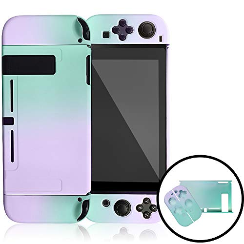 Dockable Case for Nintendo Switch,Protective Cover Case for Nintendo Switch and Joy-Con Controllers (Purple and Cyan)