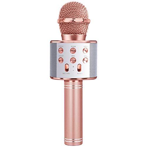 LITTLEFUN Gift for 3-11 Year Old Girls Kids, Popular Microphone Birthday Gift Age 5-11 Kid Girl Speaker Microphone Singing Toy for 5-12 Year Old Teen Children Mic Rose Gold
