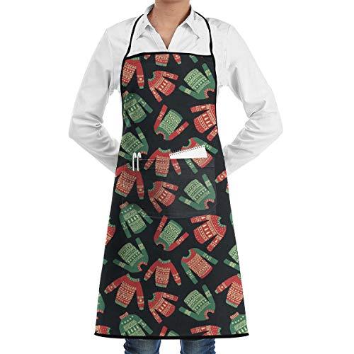 Simpatici Maglioni Natalizi Disegnati a Mano Grembiule da Cuoco Unisex da Cucina con Tasche per Negozio di Fiori Negozio di Manicure di Bellezza Negozio di Barbecue