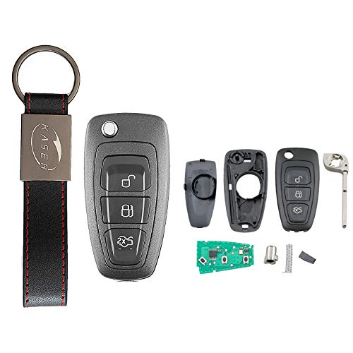 KASER Llave Mando Coche Electrónica 3 Botones Compatible para Ford C-MAX Focus Fiesta Mondeo (433MHz 4D63 Chip Hoja HU101) Transponder Listo para Programar