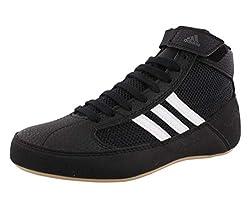 powerful Adidas HVC Men's Wrestling Shoes, Black / White / Iron Metallic, 12