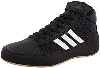 adidas Men's HVC Wrestling Shoe, Black/White/Iron Metallic, 12