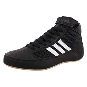 adidas Men's HVC Wrestling Shoe, Black/White/Iron Metallic, 9