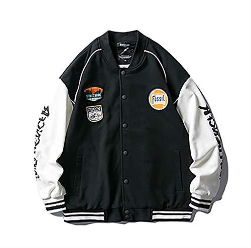 HSY SHOP Chaqueta de Hombre, Nuestra Chaqueta piloto de Bombardero Hombre Mujer Chaqueta de béisbol Moda Casual Joven Pareja Rock Streetwear (Color : Black, Size : L)
