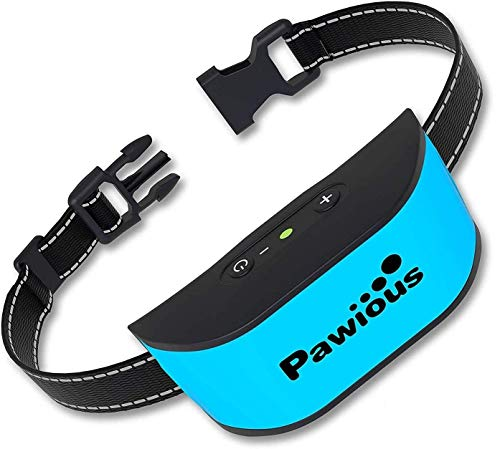 Bark Collar for Small Dogs - Humane No Shock Rechargeable Anti Barking Collar - 4 Color Faceplates, No Harmful Prongs, Sound, Vibration, 7 Sensitivity Levels