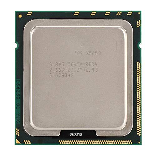 ASHATA CPU Intel Xeon X5650 Seis Hilos de Doce núcleos 2.66GHz 12M caché LGA1366 CPU Versión Oficial, Consumo de energía de 95W, caché de 12M, Bus QPI de 6.4GT/s