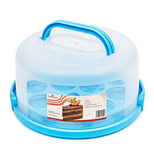 Cake Keeper with Cover & Cupcake Insert - Plastic Cupcake Carrier with Handle - Round Cake Carrier with Lid for Transporting Baked Goods - Includes Cake Turntable & Extra Snap Latches - BPA-Free