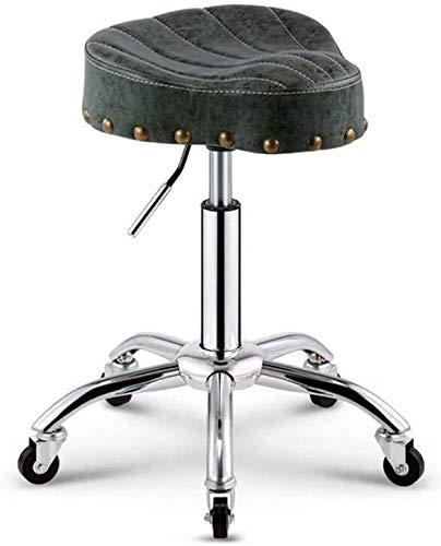 Drehhocker Arbeitshocker Hocker Salon-Massage-Stuhl Steampunk Adjustable Swivel Ergonomischer Sattelhocker for Büro Friseursalon Maniküre Tattoo-Therapie Beauty Massage Spa Salon (Color : Green)