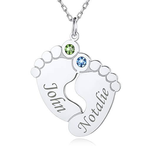 Custom4U Dos Pies con Piedras de Cumpleaños Coloradas Collar Plata de Ley 925 Personalizado Nombres Grabados Personales Joyería Preciosa para Mujeres