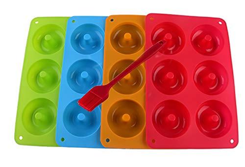 Mlying 4 Stück Silikon Donut Formen,Donutform, Donut und Schokolade Seifen 26,5 * 18 * 2,5 cm, Orange, Rose Red, Grün und Lila