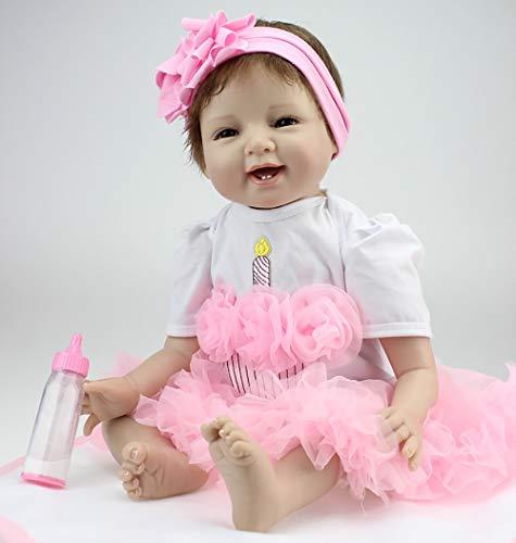 ZIYIUI Reborn Baby Dolls 22 Pulgadas 55cm Vinilo Suave Silicona Vida Real Baby Cute Girl Dolls Realistas Hechas a Mano Bebés Recién Nacidos Bebé Recién Nacido Cumpleaños Navidad GIF