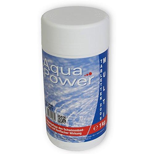 MyPool 1 kg Multi Tabs à 200 g, 4 in 1 Multi Tabletten mit Chlor, Algenschutz, Flockungsmittel, pH Stabilisator, zur Wasserbehandlung, Inhalt: 1 kg
