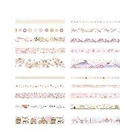 SHUOYUE 日記アルバムステーショナリー学校の20Rolls /ロットFoilingマスキング和紙テープセットManualのクラフトインテリアスクラップブッキングテープは、ギフト用品 (Color : Cherry blossom serie)