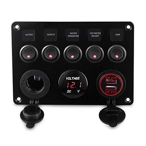 WATERWICH 5 Gang ON-Off Marine Ignition Toggle Rocker Switch Panel Waterproof with Digital Voltmeter 4.2A Dual USB Charger Cigarette Lighter Socket for RV Car Boat Vehicles Truck Trailer Yacht (Red)