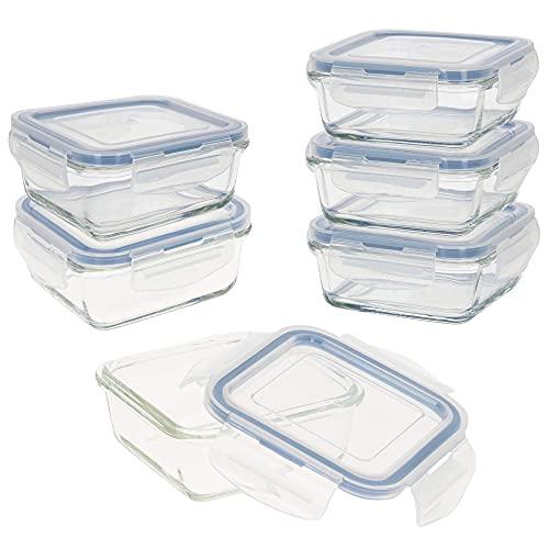 AKTIVE - Pack 6 Recipientes Herméticos de Vidrio, Tupper Cristal Apto para Microondas, Envases para Comida con Cierre, 330 mililitros, Tapas transparentes, Contenedor de Alimentos, Tapers Cuadrados