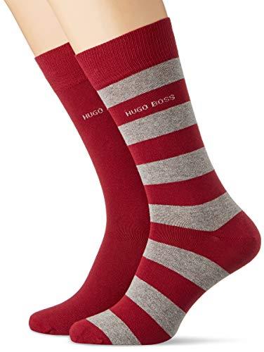 BOSS Herren 2P BlockStripe Col C Klassische Socken, Dark Red609, 39-42