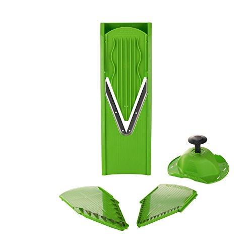 Kitchen-n-Joy Mandoline et coupe-concombres avec support de sécurité et fentes pour couteaux (3,5 et 7 mm) – Fabriqué en Allemagne – Mandoline à concombres et coupe-légumes