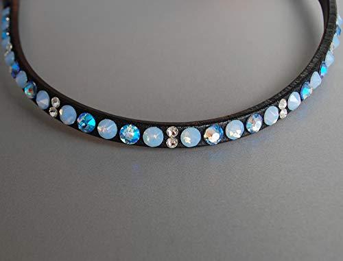 GlücksHucke Pferde Stirnband/Glitzer Stirnriemen Blau 'Light Blue' mit Strass in Hellblau, geschwungen, schmal (Cob, Lederfarbe Schwarz)