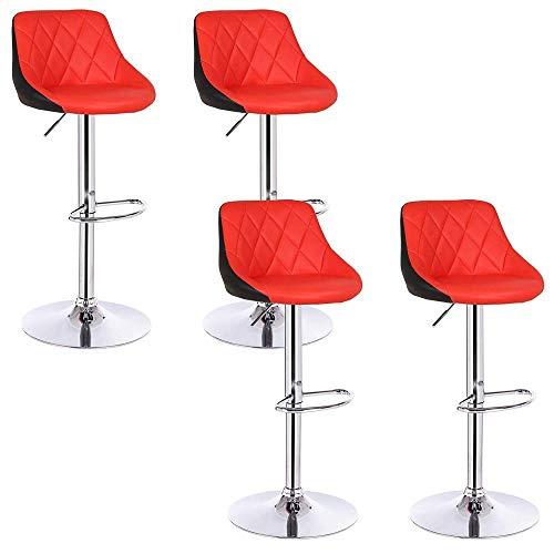 Zplyer barkruk retro eetkamerstoel minimalistische hoge kruk 4-delig kunstleer buiten/verstelbare gasdraailift/voetensteun en onderstel van chroomstaal modern rood/zwart