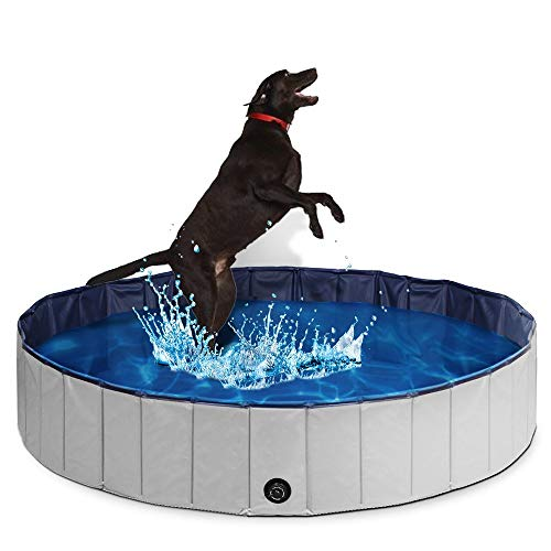 PUPTECK Foldable Dog Swimming Pool – Outdoor Portable Pet Bathing Tub Large