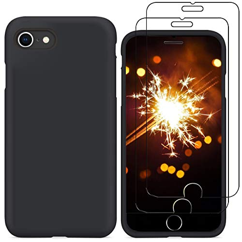 YiKaDa - Cover per iPhone SE 2020, Cover per iPhone 8/7, Custodia Liquid Silicone Leggero Cover Antiurto con Morbida Microfibra Fodera per iPhone SE 2020/8 / 7 (4.7 inch) - Nero