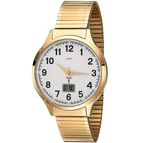 JOBO Herren Armbanduhr Funk Funkuhr Edelstahl gold vergoldet Flexband Datum