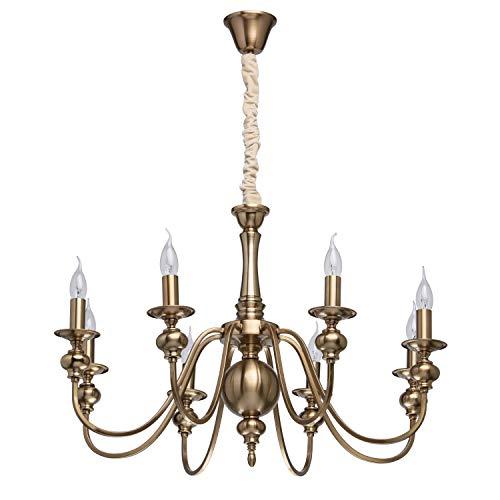 MW-Light 614010608 Klassischer Kerzen Kronleuchter in Messing 8 Armig Wohnzimmer