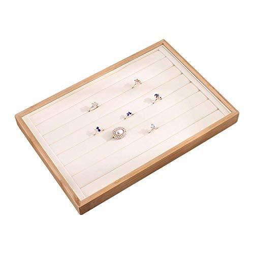 Iwinna Bandeja de exhibición de joyas – apilable multifunción madera de bambú escaparate organizador de joyas para pendientes pulsera collar – 35 x 24 x 3 cm