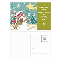クリスマス雪だるまスノーフレークドッグフェスティバル 詩のポストカードセットサンクスカード郵送側20個