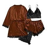 Conjunto De Batas De SatéN Sedoso para Mujer De 2/4 Piezas, Vestido De Bata De Kimono para Mujer, Top Corto Y Pantalones Cortos, Conjunto De Pijamas, Albornoz, Ropa De Dormir