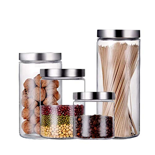 DPPD Food Storage Container, Stainless Steel Airtight Lids,4-Piece Glass Kitchen Canister Set, Round Dry Food Storage Containers