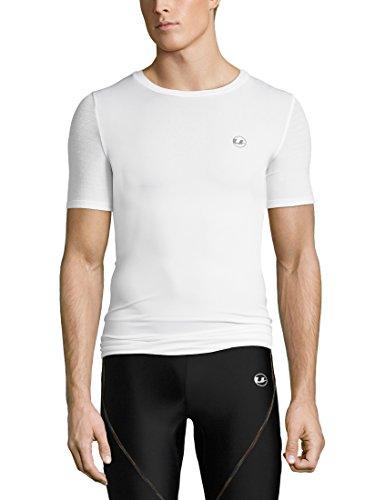 Ultrasport Noam T-Shirt de Compression Homme, Blanc-Blanc, X-Large