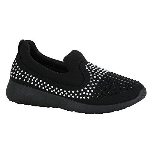 stiefelparadies Damen Schuhe Sneakers Keilabsatz Plateau Glitzer Sneaker-Wedges 155995 Schwarz Strass 37 Flandell