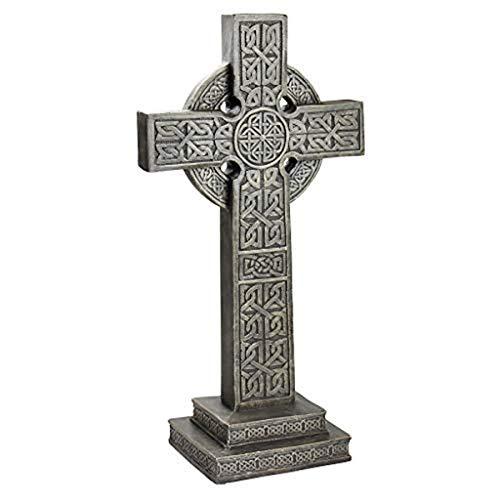 Design Toscano CL3324 Bannockburn Celtic Scottish Cross Memorial Statue, Greystone