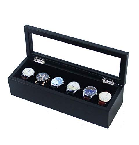 NOSSON Uhrenbox, Schmuckaufbewahrung, exquisite Holz-Uhrenbox – Display-Ständer/Box-Set/Aufbewahrungsbox für Schmuck und Uhren – 6 Fächer mit Glasdeckel (Farbe: schwarz)