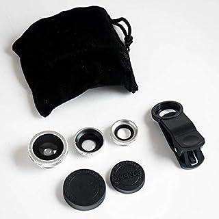 Kit universal 3 en 1 para cámara móvil incluye lente de ojo de pez lente macro 2 en 1 y lente gran angular clip universal/bolsa de transporte de microfibra