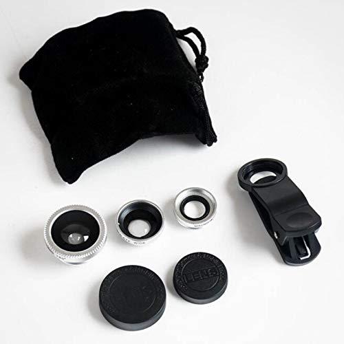 Kit universal 3 en 1 para cámara móvil, incluye lente de ojo de pez, lente macro 2 en 1 y lente gran angular/clip universal/bolsa de transporte de microfibra