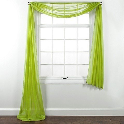 "Luxury Discounts Beautiful Elegant Solid Sheer Scarf Valance Topper Long Window Treatment Scarves (55"" x 216"" - Scarf, Lime Green)"
