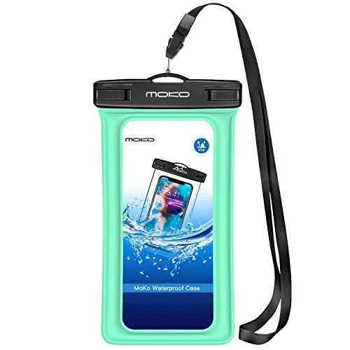 MoKo Custodia Impermeabile Galleggiante con Bracciale e Fascetta da Collo per iPhone X / 8/7 / 7 Plus/SE / 6s Plus / 6s, Galaxy S7 / S7 Edge e Altri Smartphone - IPX8 Certificato, Verde Chiaro