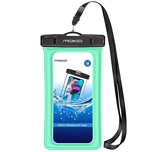 MoKo Bolsas Estancas Flotante Funda Universal con Correa para Cuello para iPhone X / 8 Plus / 8/7 / 6S Plus, Samsung Galaxy S9+ / S9 / Note 8 / S8+ / S8, Huawei, BLU, Google Nexus - Verde Claro