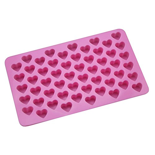55 Sweet Hearts Silicone Cookie Cake Mold Chocolate Fondant Decorating Mould Baking Tools Pink