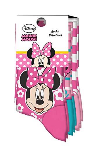 Kids Licensing | Calcetines Infantiles - Calcetines con Diseño Disney - Diferentes Diseños de Minnie Mouse - Tejido Transpirables - Elástico en Arco Licencia de Producto Oficial